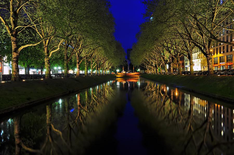 Вечерние и ночные фотографии Дюссельдорфа